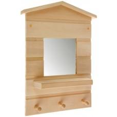 Зеркало банное Домик 3 вешалки малый 330*260