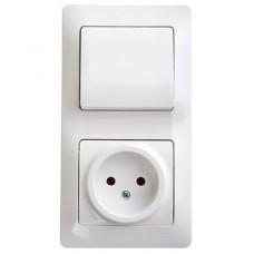 Блок: Розетка + выключатель одноклав. GLOSSA (893551)