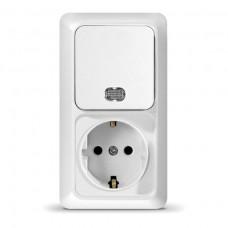 Блок: Розетка + выключатель двухклав.с подсветкой с заземл. Олимп (6173622)