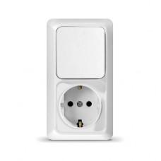 Блок: Розетка + выключатель одноклав. с заземл. вертик. Олимп (2447086)