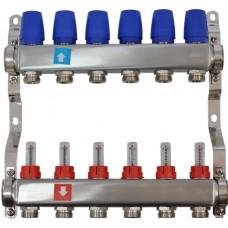 Коллектор MVI из нержавеющей стали в сборе с расходомерами 6 вых.(1/4)