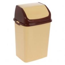 Ведро 18л для мусора Камелия бежевое/коричневое 1/12 (42797)