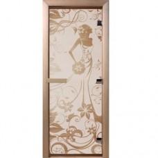 Дверь Банная стекл. Девушка в цветах бронза,коробка хвоя 1900х700 (6мм,2 петли)