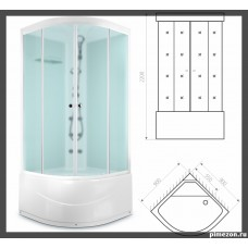 Душ кабина DOMANI-Spa Dilight 99(90*90*218см) белые стенки,стекло сатин матиров. высокий поддон,радио,вертик.гидромас.АК
