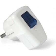 Вилка с выключателем с заземлением белая (16А;250В) Universal (0056)