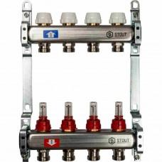 Коллектор.группа из нерж(авт.воздух.+расходом.+термостат.клап.) 4 вых.(OKGSET04A)