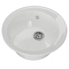 Мойка ML-GM Gloss 01 круглая, белая, 480 мм (глубина чаши 180) (542281)
