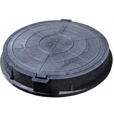 Люк канализационный полимерпесчаный (3,0т) черный КРУГЛЫЙ(49466)